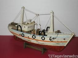 "18"" Fishing Boat Wooden Vessel Ship Weathered Model Fully As"