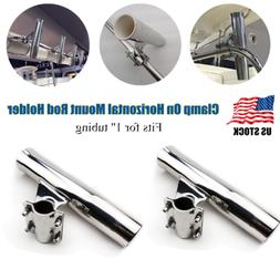 2PCS S.S. Boat Yacht Clamp On Fishing Rod Holder Fit 1'' Tub
