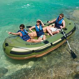 3 Person Inflatable Pontoon Boat Dinghy Fishing Lake Raft 55