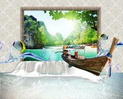 3D Boat sunny tropical fish wallpaper Decal Dercor Home Kid
