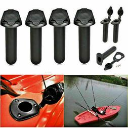 4 Pcs Plastic Flush Mount Fishing Boat Rod Holder and Cap Co