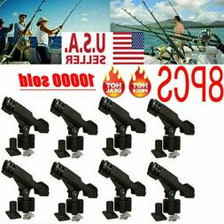 8PC Adjustable Side Rail Mount For Kayak Boat Fishing Pole R