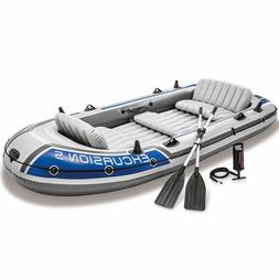 Intex 5 Person Inflatable Rafting Fishing Boat Set w/ 2 Oars