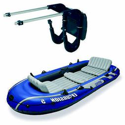 5 person inflatable fishing boat set