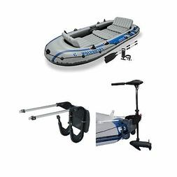 Intex 5 Person Inflatable Fishing Boat, Trolling Motor, & Bo