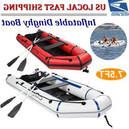 7.5FT Inflatable Assault Boat PVC 330LBS Rafting/Fishing Din
