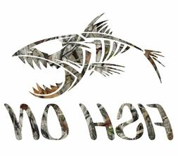 "8"" Camouflage fish on skillet bass fishing sticker camo prin"