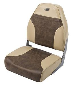 Standard High Back Boat Seat with Logo, Sand/Brown