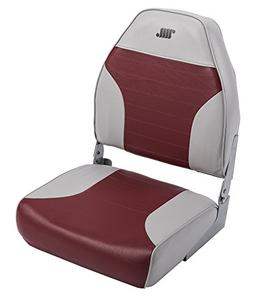 Standard High Back Boat Seat with Logo, Grey/Red