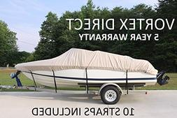 BEIGE/TAN VORTEX HEAVY DUTY VHULL FISH SKI RUNABOUT COVER FO