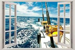 Boat Fishing 3D Window Decal Wall Sticker Home Decor Art Mur
