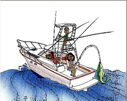 Boat Fishing  Cartoon Character Personalized Matted Print  P