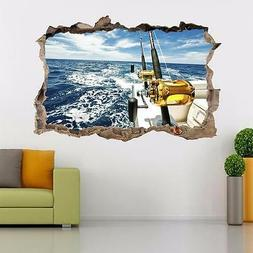 Boat Fishing Smashed Wall Decal Graphic Sticker Home Decor A