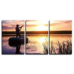 wall26 - 3 Piece Canvas Wall Art - Mature Man Fishing from T