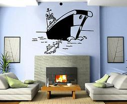 Cartoon Fishing Boat Marine Decor Kids Room Nursery Wall Mur