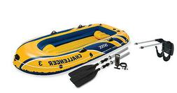 Intex Challenger 3 Boat and Oar Set Inflatable with Motor Mo