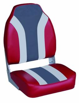 Wise Classic Stripe High Back Boat Seat, Red-Grey-Charcoal