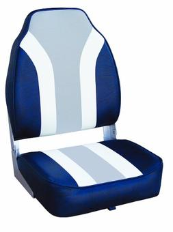 Wise Classic Stripe High Back Boat Seat, Navy-White-Grey