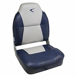 Wise Contoured Folding High Back Boat Seat, Grey/Navy