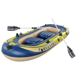Excursion 4 Person Inflatable Rafting and Fishing Boat Set W
