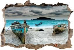 Fishing Boats At The Beach 3D Wall Decal Removable Vinyl Sti