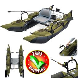 Fishing Kayak 9' Pontoon Boat Inflatable Aluminum Oars Acces