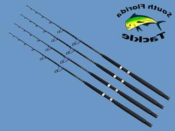"Four Pack 20-30 Lb 6' 6"" Solid Blank Saltwater Spinning Boat"
