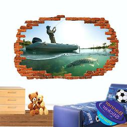 FRESH WATER PIKE FISHING BOAT WALL STICKER 3D ART POSTER MUR