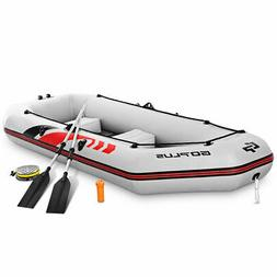 Goplus 3-4 Persons Inflatable Fishing Boat w/ Oars and Air P