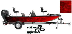 Graphic Pontoon Red Wrap Musky Fishing Bass Boat Abstract Fi