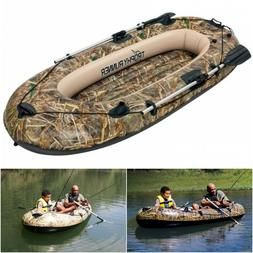 Inflatable Fishing Boat Oars Row Rowing Water Lake Beach Riv