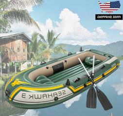 Inflatable Fishing Camping Rafting Family Boat with 2 Oars f