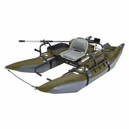 Inflatable Fishing Pontoon Boat w/ Motor Mount & Transport W