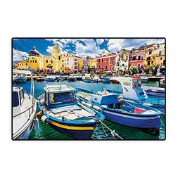 Italy Door Mats for Home Colorful Procida Island with Fishin