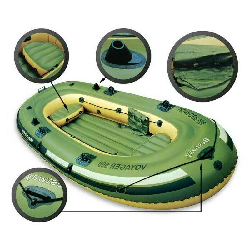 3 Person Inflatable Pontoon Boat Dinghy Fishing Raft 557 Lbs Mount