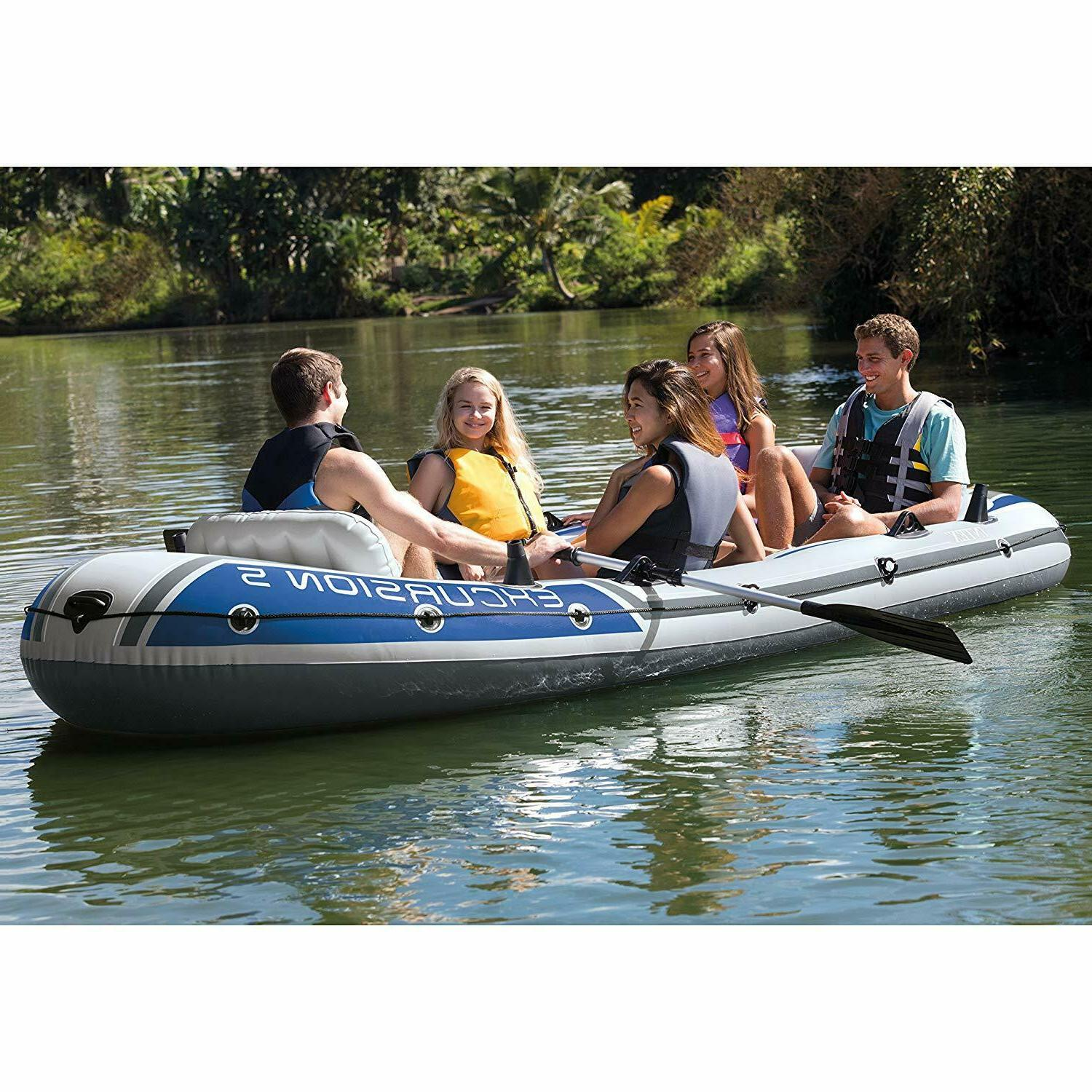 Intex Person Inflatable Rafting Fishing w/ 2 Pump Carry