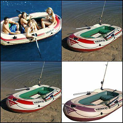 Boat 4 Person Inflatable Raft Heavy Duty PVC Swivel Oar Lock