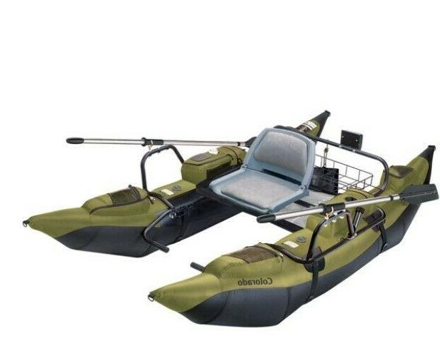 inflatable fishing pontoon boat with motor mount