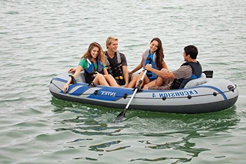 Intex Excursion Inflatable Boat Set Aluminum Oars and High Output Air