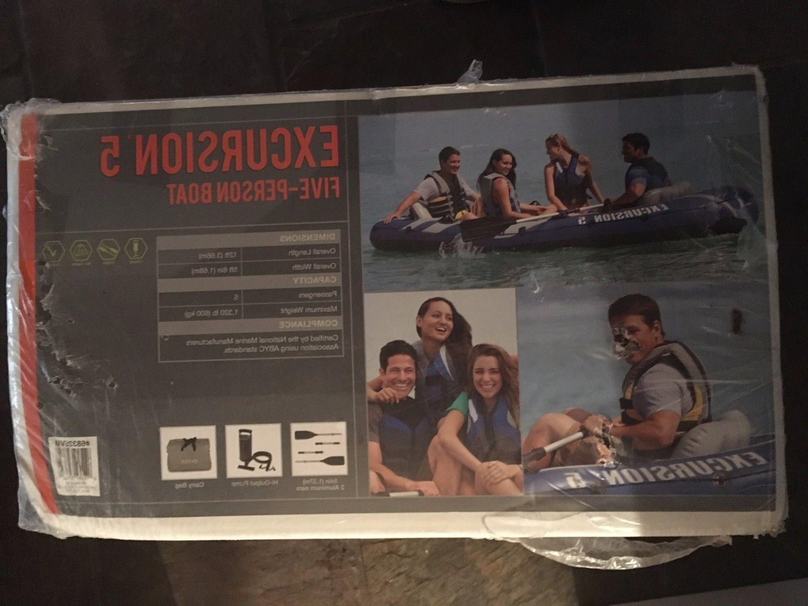 excursion 5 person inflatable fishing boat set