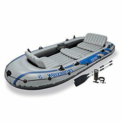 Intex Excursion Inflatable Boat Aluminum Oars and Output Air Pump