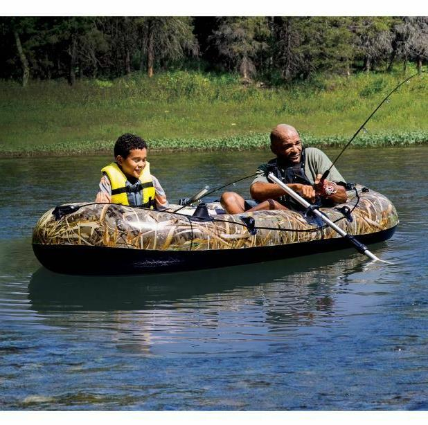 Two Person Inflatable Boat Fishing Oars Row Lake Beach River