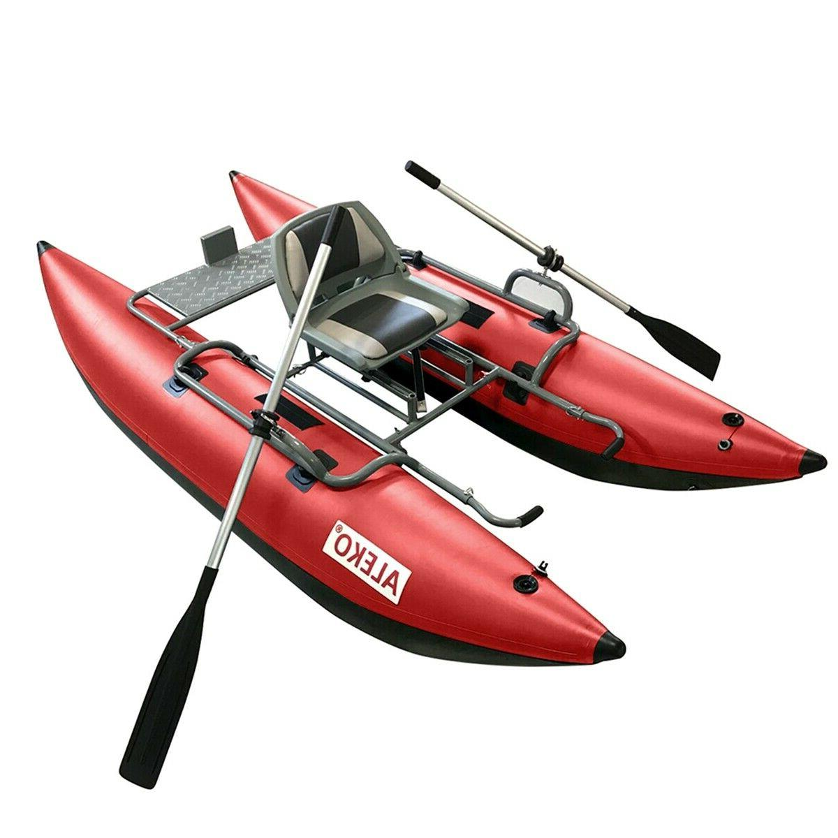 ALEKO Inflatable Personal Fishing Pontoon Boat with Swivel S