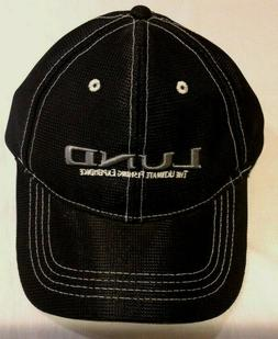 Lund Boats Black Baseball Fishing Hat Cap Grey Embroidered L