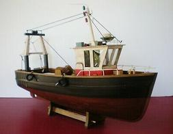 "Model Fishing Boat Wooden Vessel 18"" Handcrafted Finish On C"
