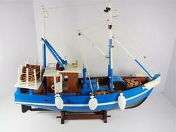NAUTICAL WOOD MODEL LOBSTER FISHING BOAT DETAILED BLUE & WHI