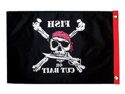 Pirate Heads 'Fish or Cut Bait' Traditional Flag