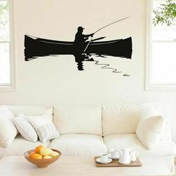 Retro A Man Fishing On The Boat Wall Sticker Funny Nordic Mu