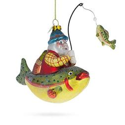 Bestpysanky Santa Fishing On Boat Blown Glass Christmas