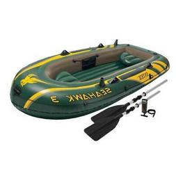 Intex Seahawk 3 Person Inflatable Boat Set with Aluminum Oar